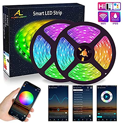 WIFI LED Strip 10M (2x5M), ALED LIGHT RGB LED Strips Lights 5050 SMD 300 (2x150), 16 Million Colors Sync with Music, IP65 Waterproof Smart Phone APP Controlled LED Band, Work with Alexa, Google Home
