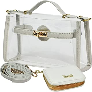 Women's Purse Small Transparent Shoulder Crossbody Clear Clutch + Wallet