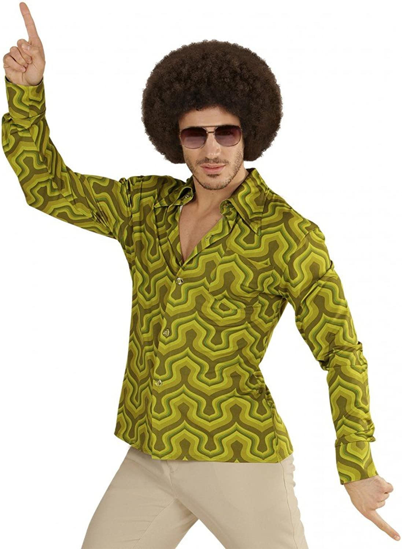 70er Jahre Retro HEMD mit Tapetenmuster Grün Disco Herren Kostüm Siebziger Schlager, Größe L XL B072X113FQ Spielzeugwelt, spielen Sie Ihre eigene Welt  | Moderne und stilvolle Mode