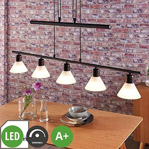 Lindby LED Pendelleuchte \'Eleasa\' dimmbar (Landhaus, Vintage, Rustikal) in Schwarz aus Glas u.a. für Wohnzimmer & Esszimmer (5 flammig, E14, A+, inkl. Leuchtmittel) - Hängeleuchte, Esstischlampe