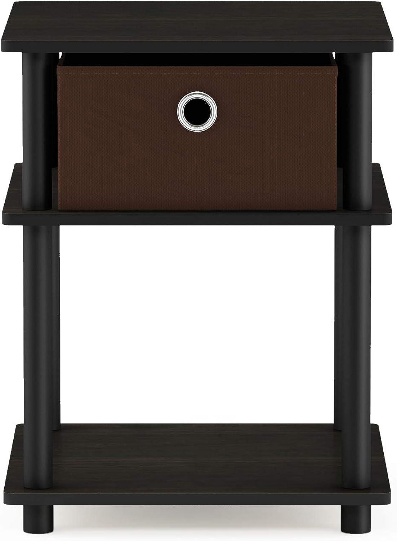 Furinno 18063EX BK DBR Turn-N-Tube End Tables, Espresso Black Brown