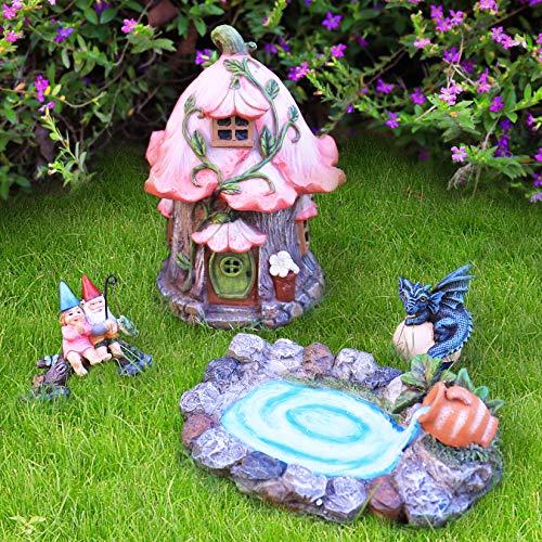 La Jolíe Muse Estatuas de jardín de Resina, Decoracion Jardin Exterior, Casa de Hadas en Miniatura Pintada a Mano, Figura de dragón, Set de 4 Piezas, Regalo Mujer