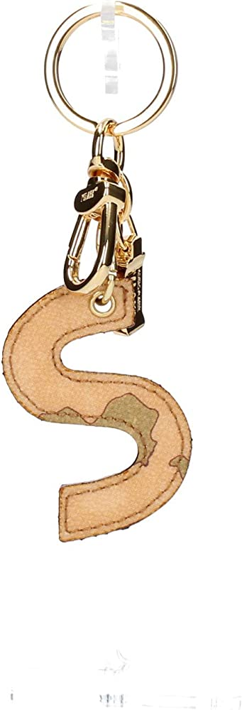 Alviero martini, portachiavi per donna in ecopelle, di colore naturale , con anelli in metallo color oro 44837