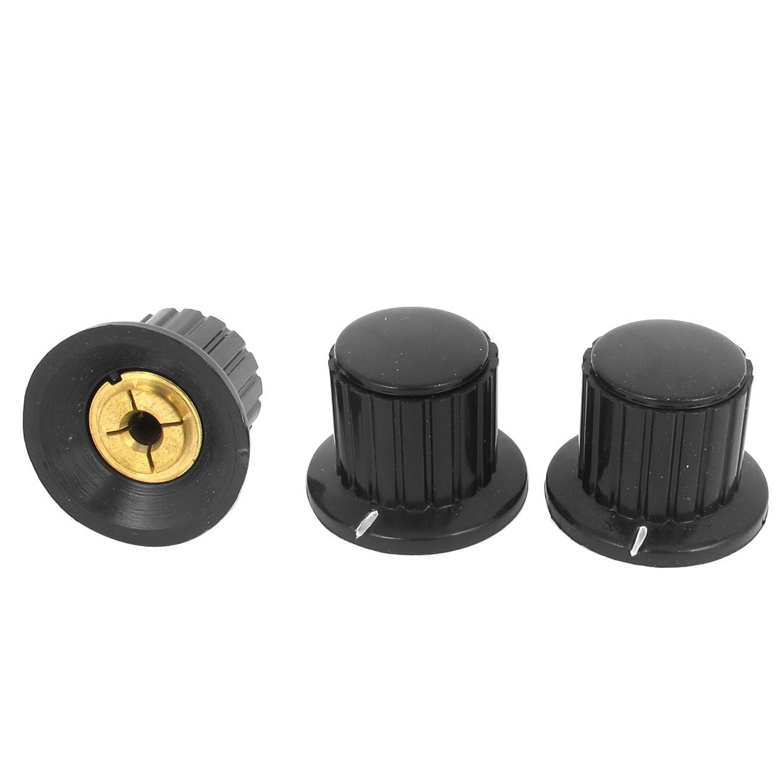Uxcell 3 Pcs Black Ribbed Grip Free shipping on posting reviews Co Shaft 4 Split mm 2021 new Potentiometer