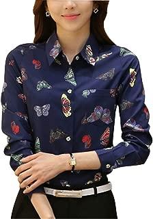 DPO Women's Button Down Long Sleeve Printed Shirt Tailored Blouse