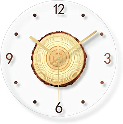 SXMAN Stylish Transparent Wall Clock, Glass Material Tree Wheel Style Absolutely Silent Sweeping Movement Round