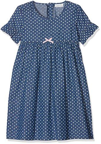 NAME IT Mädchen NMFBERNA DNM 3027 Dress Kleid, Blau (Dark Blue Denim Dark Blue Denim), 110