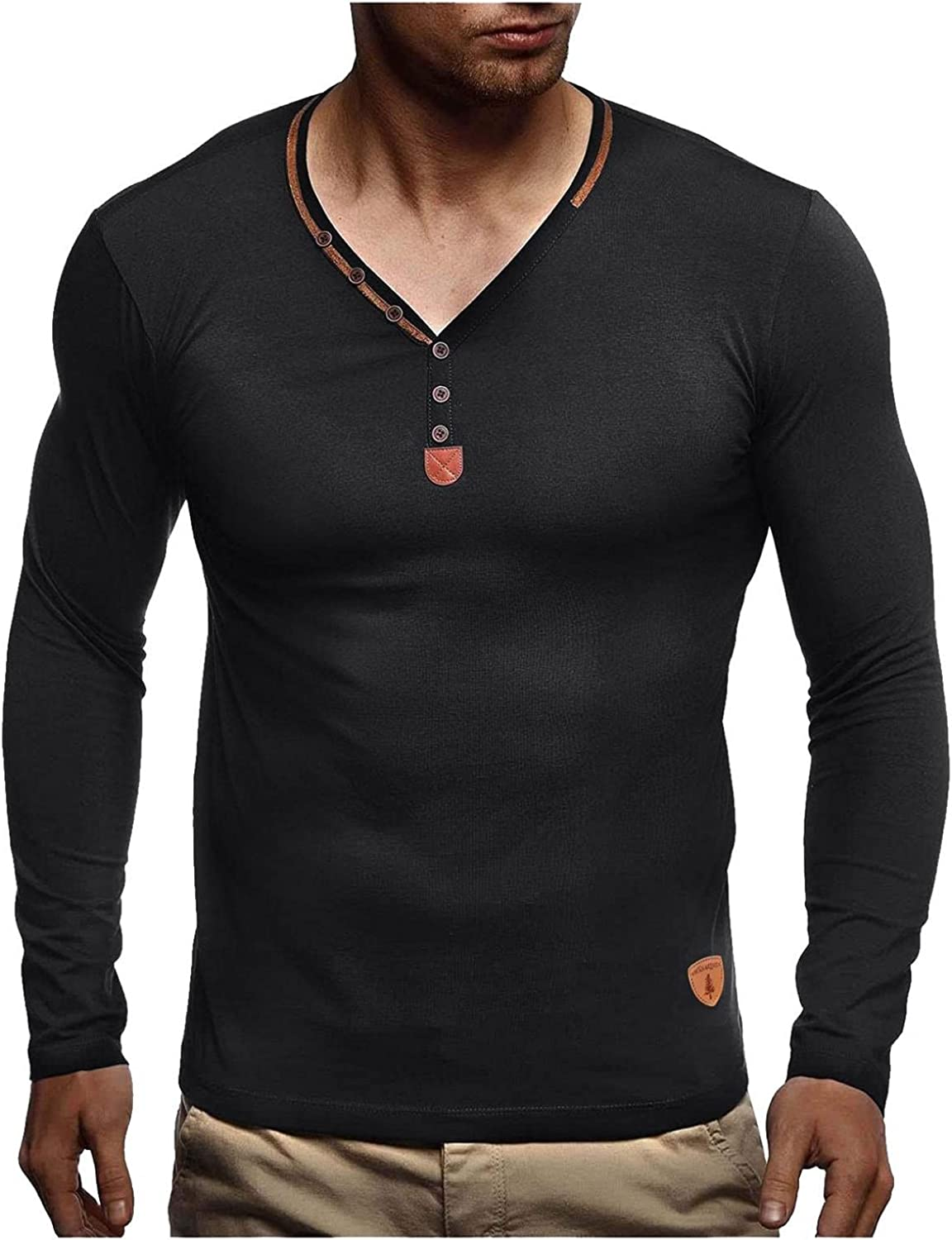 Aayomet Men's T Shirts Vintage Button Solid Long Sleeve V Neck T-Shirt Casual Sport Workout Athletic Tee Tops Shirts