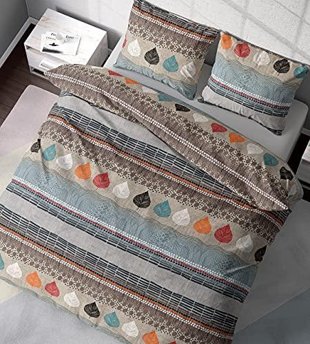 DILIOS Bettwäsche 135x200 2teilig Baumwolle Renforcé Braun Blau Bereich 100% Atmungsaktive Angenehme Baumwollbettwäsche - Bettbezug 135 x 200 cm + Kissenbezug 80 x 80 cm mit Reißverschluss