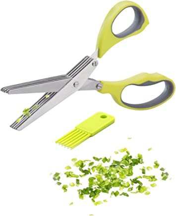 HHXHH Kitchen Scissors 5 Blades Heavy Duty Ultra Sharp Multipurpose Stainless Steel Herb Scissors with Easy Cleaning Comb