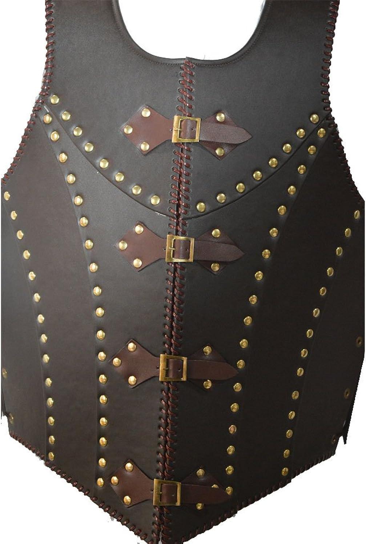NASIR ALI Mittelalterliche Braune Leder Drachen-Krieger Rüstung Jacke Kostüm LARP