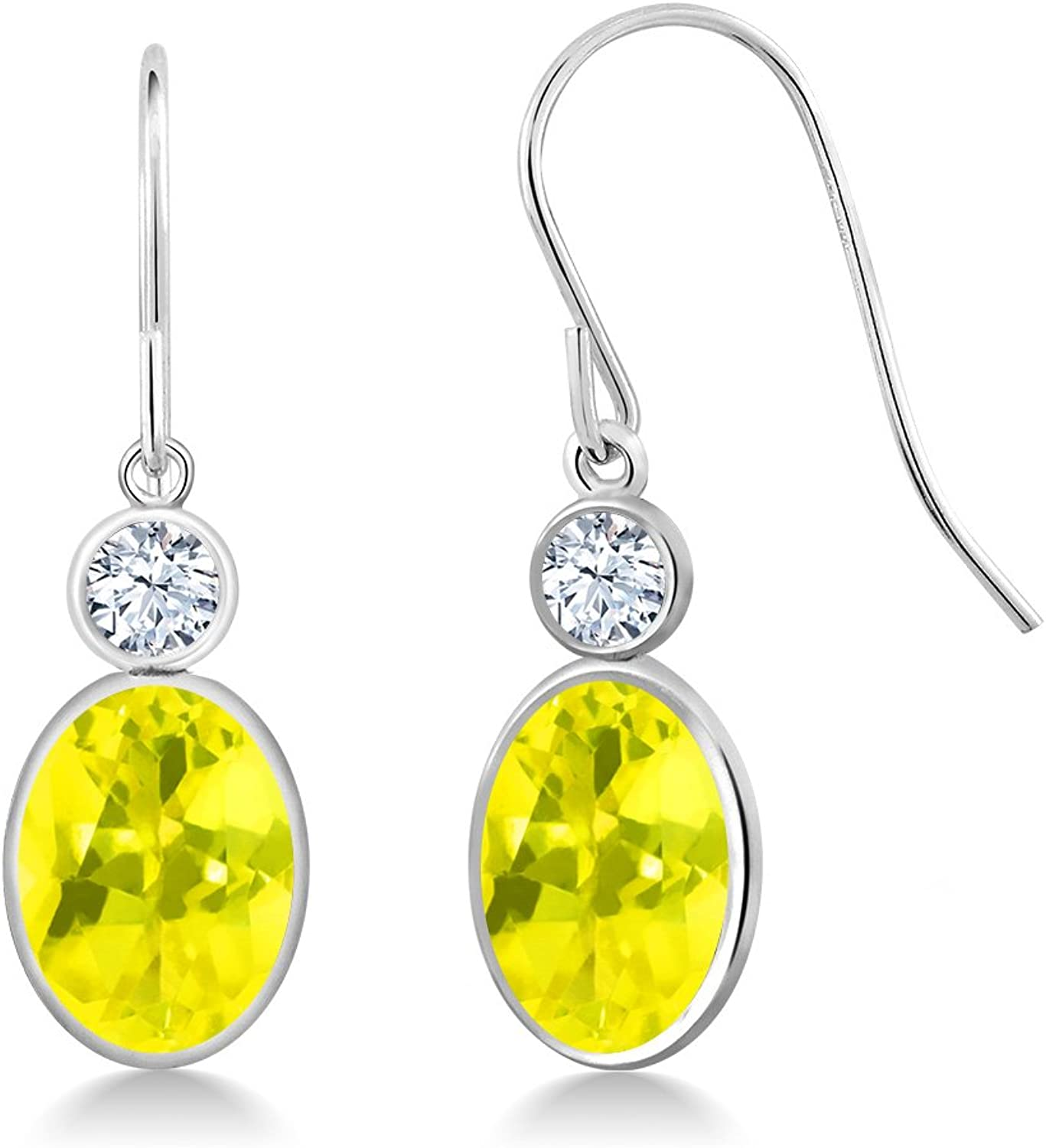 2.86 Ct Oval Canary Mystic Topaz White Created Sapphire 14K White gold Earrings