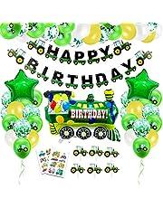 Barnkalas dekoration, traktor födelsedag dekoration pojke, grattis på födelsedagen banderollonger, traktor födelsedagsdekoration, traktor folieballonger för 1–10 år barn födelsedagsfest dekorationer
