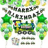 Globos Cumpleaños de Niños, Cumpleaños Decoraciones chico, Guirnalda de globos verde Con feliz cumpleaños banner Transporte Tema Tren Coche Camión para Niño Cumpleaños Fiesta Baby Shower