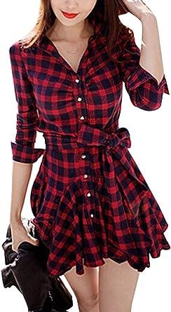 Vestidos De Camisa Mujer Primavera Otoño Elegante Moda Manga Larga A Cuadros Vestidos Party V-Cuello Especial Estilo Swing con Cinturón Un Solo Pecho ...