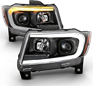 ACANII - For 2011-2013 Jeep Grand Cherokee Black Switchback LED DRL Sequential Signal Projector Headlights Headlamps Set