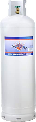 Flame King YSN100a 100 lb Steel Propane Tank Cylinder with 10% Pol Valve & Collar,White