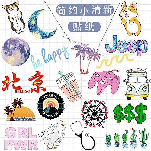 BLOUR 50 Ins Wind Cute Minimalist Sticker Pvc Waterproof Sticker Suitcase Skateboard Sticker