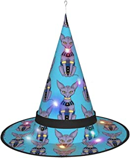 Knusll Sphynx Cat Bills Beerus Halloween Witch Hat with Color Lights for Masquerade Cosplay Party Costume Accessory