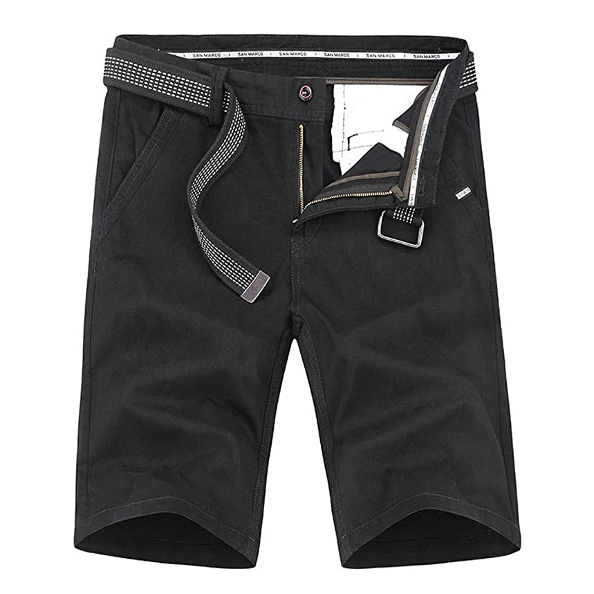 MODOQO Cargo Shorts for Men,Casual Loose Solid Color Cotton Tooling Shorts with Belt