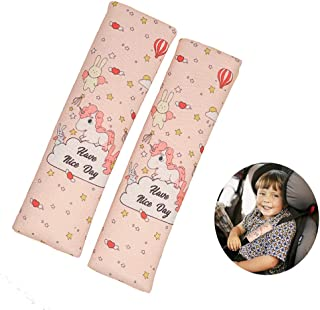 Seat Belt Cover for Kids,2 Pack Unicorn Car Seatbelt Covers Shoulder Comfort Pad for Toddler Carseat,Cute Universal Seat Strap Cushion Pads for Kids (Pink)