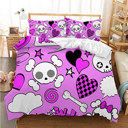 NTT Duvet Cover 3D Sugar Skull Duvet Cover Set With Pillowcase Bedding Set Queen Size Love Skull Comforter Set 150 * 200Cm