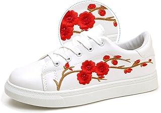 [WOOYOO] スニーカー レディース 刺繍飾り カワイイ 運動靴 厚底 ローカット カジュアルシューズ 歩きやすい フラット 通気性 美足 通学 お出かけ 立ち仕事 ウォーキング ランニング シンプル 白