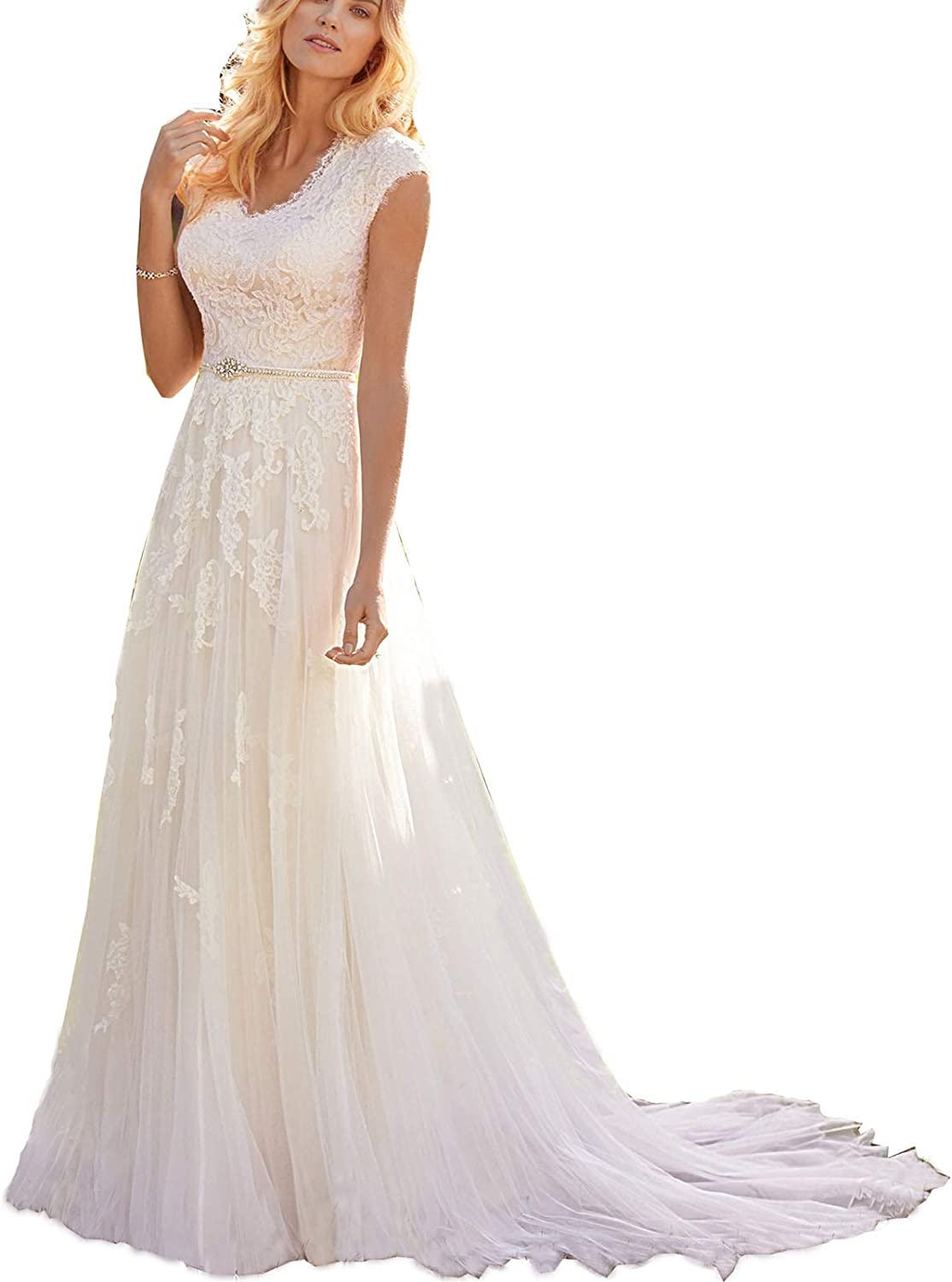 Women's V-Neck Wedding Dress Floral Cap Sleeves Lace Prom Dress for Bridal