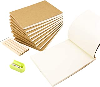 """Fyess10Pack Kraft Cover Blank Flipbook for Animation, Sketching and Cartoon Creation,4.1""""x 5.5"""",120 Pages (60 Sheets),with 5Pcs 3.5""""Wooden Pencil and 1Pc Mini Pencil Sharpener Color Random"""