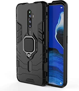 Case For Oppo Reno 2F / 2Z, Rugged And Shockproof,With Mobile Phone Ring Bracket Cover (black)