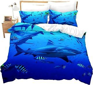Erosebridal 3D Digital Printing Shark Comforter Cover Underwater World Fish Bedding Sets Soft and Comfortable Bed Cover, 1...