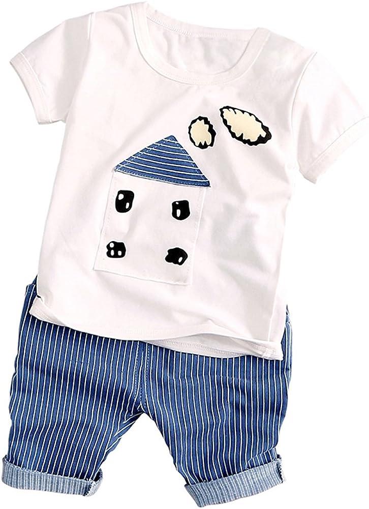 BOBORA Baby Boy Girl's Summer Outfits Set Tops+Pants
