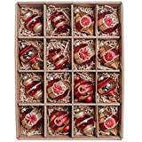 Valery Madelyn Palle di Natale Vetro Addobbi Natalizi Set, 16 Pezzi 7-9cm Luxury Red And Gold Palline di Natale Decoration for Addobbi Natalizi per Albero