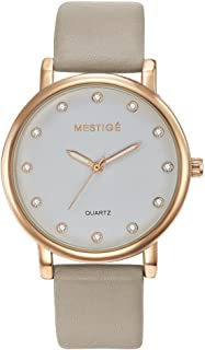 Mestige Women's White Dial Leather Band Watch - MSWA3109