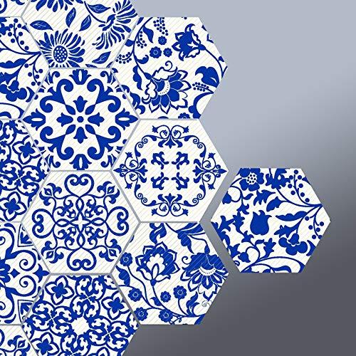 10 adhesivos hexagonales de porcelana azul, antideslizantes, impermeables, extraíbles, de PVC, para baño, cocina, hogar, decoración del suelo o pared