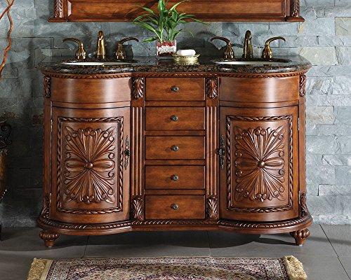 """Silkroad Exclusive WFH-0201-BB-UWC-54 Granite Stone Top Dual Sink Bathroom Vanity with Double Cabinet, 54"""", Medium Wood"""