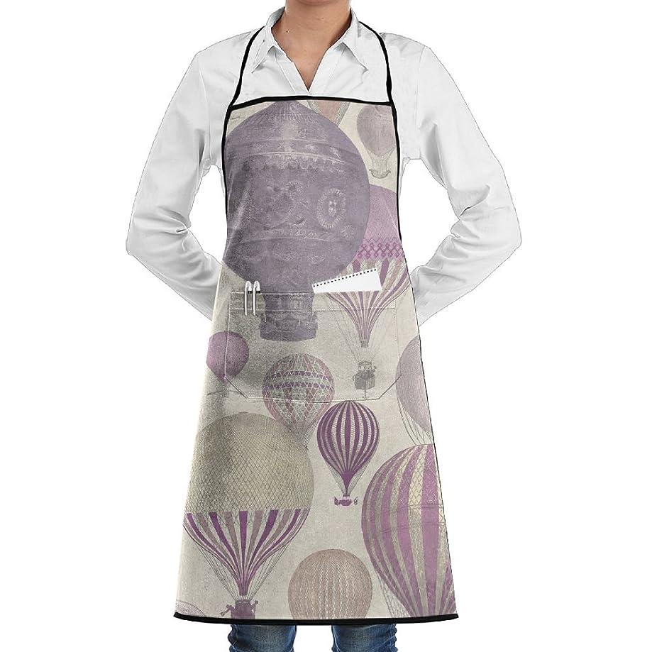 Kitchen Bib Apron Neck Waist Tie Center Kangaroo Pocket Hot Air Balloons Design Waterproof