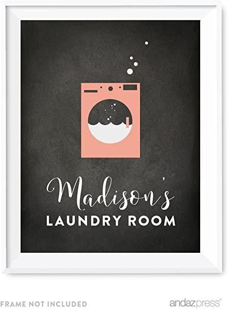 Amazon Com Andaz Press Laundry Room Wall Art Decor Personalized Chalkboard Print Madison S Laundry Room 1 Pack Mother S Day Birthday Ideas For Mom Poster Signs Unframed Custom Name Posters Prints