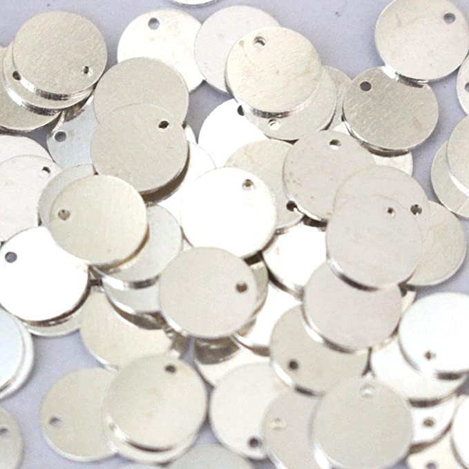 Medallion Personalized Disc Stamping Tag 40mm Rhodium Plated Large Round Charms Brass Findings Round Disc Rhodium Plated Coins