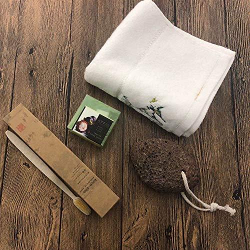 SPA Eco Friendly Gift Box, Soins Personnels Beauté Éthiques Produits Naturels, Bambou Toothbrushe, Fibres Blanches Bambou Serviette, Savon De Karité Brossé, Pierre Ponce, 4PCS