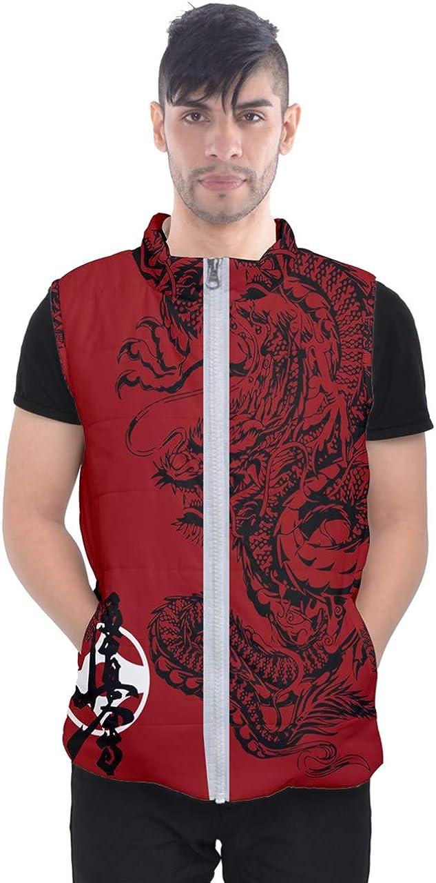 New Karate kyokushin Red Japan Dragon Tattoo Full Print Men's Puffer Vests Jacket (x_l)
