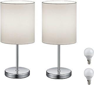 Wohnzimmer HAITRAL Tischlampe,Nachttischlampen,2er-Set mit Nachttischlampen im Stoffschirm f/ür Schlafzimmer M/ädchenzimmer Schlafs/äle Kinderzimmer B/üros