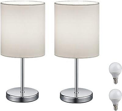 Lampe de chevet LED - Lampe de table avec abat-jour en tissu (blanc) pour chambre à coucher, salon, bureau, table d'appoint avec LED 3 W (2 lampes de table blanches)
