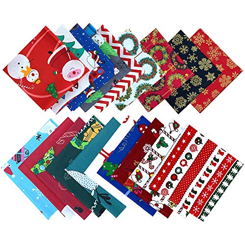 KAARI 19 Stück Baumwollstoff Weihnachten,Patchwork vorgeschnittene Stoffreste für Weihnachten Nähen Handwerk