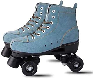 DUBUK Roller Skates, High-top Roller Skates Four Wheels Double Row Roller Skates Shiny Roller Skates Adult and Youth, Indoor and Outdoor