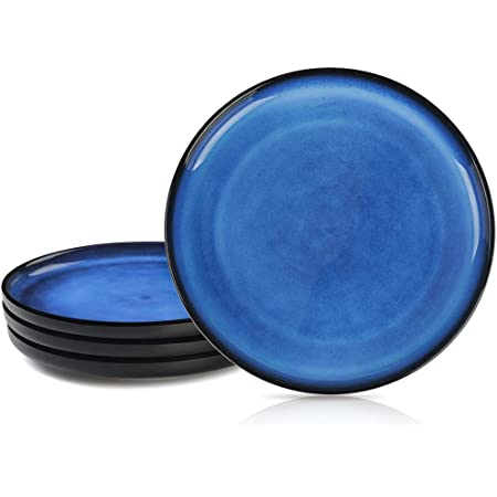Small Ceramic Free Form Plate with Blue Crystals