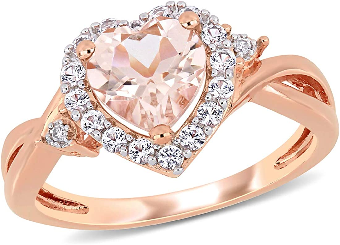1.10 Carat ctw Morganite Heart Promise Pink Ring Direct store Rose Sterl in Save money