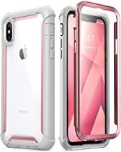 i-Blason Case for iPhone X 2017/ iPhone Xs 2018, [Ares] Full-Body Rugged Clear Bumper Case with Built-in Screen Protector (Pink)