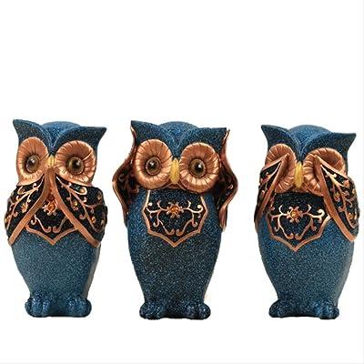 3pc See Hear Speak No Evil Blue White Gold Resin Owl Home Decor Figurine Statues