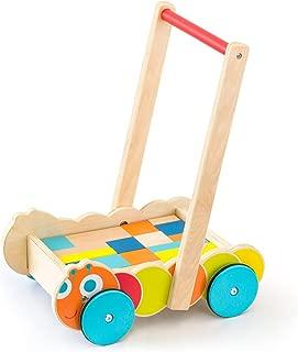 RiZKiZ 積み木付 木製 手押し車 ベビーウォーカー いもむしデザイン 知育玩具 ベビーブロックウォーカー つかまり立ち